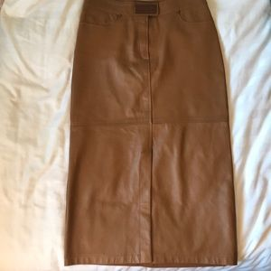 Vintage AbSOLU Paris caramel leather front skirt